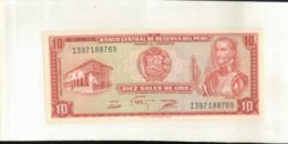 "Billet  PEROU   DIEZ SOLES DE ORO 1975 "" BANCO CENTRAL DE RESERVE DEL PERU""     (Mai 2020  017) - Perù"