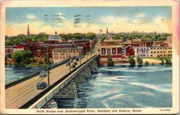 Maine Lewiston North Bridge Over Androscoggin River 1941 Curteich - Lewiston