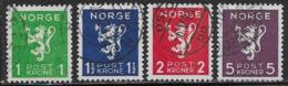 Norway, Scott # 203-6 Used Lion Rampant, 1940 - Oblitérés
