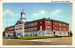 Maine Lewiston High School 1952 Curteich - Lewiston