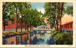 Maine Lewiston Mills Along The Canal 1943 Curteich - Lewiston