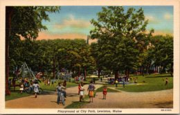 Maine Lewiston City Park Playground 1955 Curteich - Lewiston