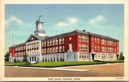 Maine Lewiston High School 1938 Curteich - Lewiston