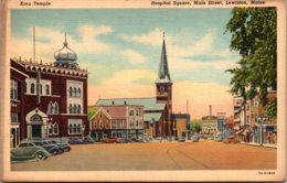 Maine Lewiston Main Street Hospital Square Kora Temple 1946 Curteich - Lewiston