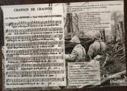 """Cpm, Chanson De Craonne, Illustration """"Chemin Des Dames"""", Portée Musicale Et Paroles, Chanson 1917 - Guerre 1914-18"""