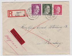 Sudetenland R+E-Brief Von Eger Nach Bamberg Mit MIF Mit AKs - Sudetenland