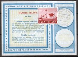 ISLANDE / ICELAND Vi19 Kr. 9.00 + Stamp 3 KR International Reply Coupon Reponse Antwortschein IAS IRC KOPAVOGUR 26.3.69 - Enteros Postales