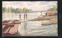 Künstler-AK Kelaniya, River Scene - Sri Lanka (Ceilán)