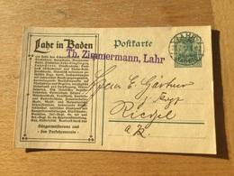 K5 Deutsches Reich Ganzsache Stationery Entier Postal P 90I Zudruck Lahr Ortswerbung Von Quellwasser Bis Militär - Entiers Postaux