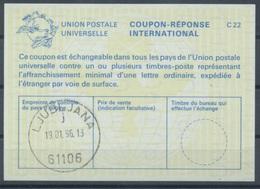 SLOVENIA / SLOVENIE / YUGOSLAVIA La25 International Reply Coupon Reponse Antwortschein IAS IRC O LJUBLJANA 19.01.96 - Slovenia