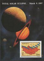 Mongolie 1997 Bloc Eclipse Totale De Soleil Rare Mongolia 1997 Total Solar Eclipse Lune Saturne Moon Saturn - Sterrenkunde