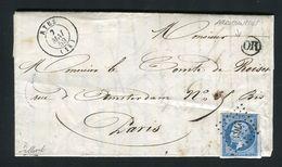 Rare Lettre D'Arromanches Par Ryes ( Calvados 1859 ) Pour Paris - Cachet PC 2763 - 1849-1876: Période Classique
