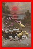 2 CPA PAQUES.  Heureuse Pâques, Poussins Et œufs..D248 - Pâques