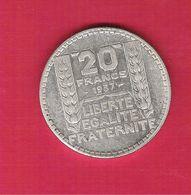 Monnaie Française Turin 20 Francs Argent 1937 TTB Belle Qualité  G.852 - L. 20 Francos