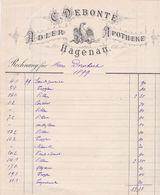 HAGENAU C DEBONTE ADLER APOTHEKE PHARMACIE ANNEE 1899 FACTURE DOUBLE - France