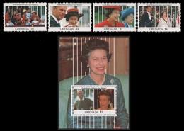 Grenada 1991 - Mi-Nr. 2317-2320 & Block 288 ** - MNH - Queen Elizabeth - Grenada (1974-...)