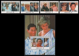 Grenada 1991 - Mi-Nr. 2322-2325 & Block 289 ** - MNH - Diana & Charles - Grenada (1974-...)