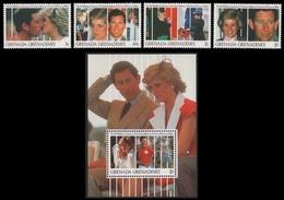 Grenada-Grenadinen 1991 - Mi-Nr. 1457-1460 & Block 226 ** - MNH - Diana - Grenada (1974-...)
