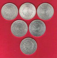 Monnaie Française Hercule 50 Francs Argent Série Complète De 6 Pièces 1974 à 1979 Très Belle Qualité G.882 - France