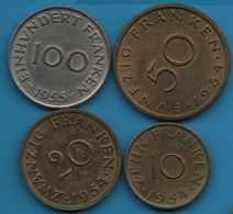 SAARLAND SARRE LOT 10 + 20 + 50 + 100 FRANKEN 1954-1955 - Saarland