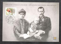 2020 Slovakia Slowakei Slovacchia Commem. Sheetlet 100th Birtday Pope Papst Giovanni John Johannes Paul Paolo II Wojtyla - Joint Issues