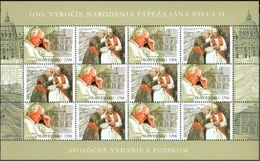 2020 Slovakia Slowakei Slovacchia Sheet Anniversary 100th Birtday Pope Papst Giovanni John Johannes Paul Paolo 2 Wojtyla - Joint Issues
