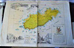 Rare Format A3 Carte De L'île D'Aldernay - Other