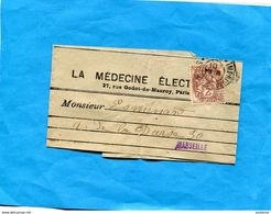 Timbre -2c Type Blanc -sur Bande Journal -cad  Tarif Imprimé 1 Mars 1910 - Poststempel (Briefe)