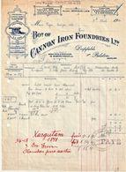 Très Rare Facture Pour Achat De 2 Canons à La Fabrique Bot Of Cannon Iron Foundries Ltd Tampon Vapeur Orita 1914 - Ver. Königreich