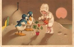 """""""Little Child In Winter Dress Watering The Plants""""  Curious Vintage Greetings PC - Scènes & Paysages"""