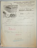 ANCIENNE FACTURE LYON RHONE 1930 BASSET BASSINI MANUFACTURE D'USTENSILES DE MÉNAGE - France