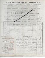 52 - Haute-marne - CHAUMONT - Facture PERCHET - Fabrique De Cordages - 1920 - REF 293 - France