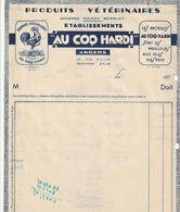 Rare Facture Produits Vétérinaires Au Coq Hardi à Angers Années 30 - Other