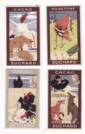 Chromo  CHOCOLAT SUCHARD    Lot De 4     Fables De La Fontaine     10.5 X 6 Cm - Suchard