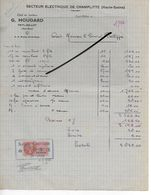 52 - Haute-marne - FAYL-BILLOT - Facture HOUDARD - Secteur électrique De Champlitte - 1946 - REF 293 - France
