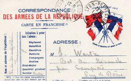 """CP- """"Correspondance Des Armées De La République """"-  4 Drapeaux - - Storia Postale"""