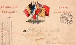 """CP- """"Carte  Ou Militaire """"-  4 Drapeaux - - Storia Postale"""