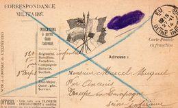 """CP-  """" Correspondance Militaire """"-  4 Drapeaux - - Storia Postale"""