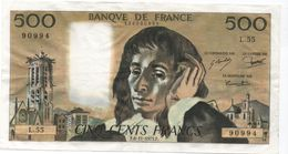 France- 500 Frs PASCAL - Du  6 11 1975  ( L.55)  Cat Fayette N° 71   Très Bon état - 1962-1997 ''Francs''