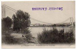 Cpa Gard - Aramon - Perspective Du Pont Suspendu ( Tampon : Souvenir D'Aramon ) - Aramon