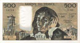 France- 500 Frs PASCAL - Du  7 06 1979  ( U.105 )  Cat Fayette N° 71   Excellent état - 1962-1997 ''Francs''