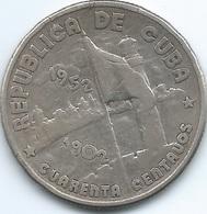 Cuba - 40 Centavos - 1952 - 50th Anniversary Of The Republic - KM25 - Cuba