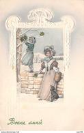 Nouvel An - N°66349 - V.K. Vienne N°5143 - Bonne Année - Une Fillette Cueillant Du Houx, ... Un Teckel - Carte Gaufrée - Neujahr