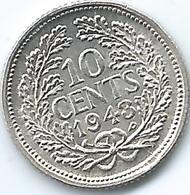 Curaçao / Suriname - 1943 P - 10 Cents - Wilhelmina - KM37 (Suriname - KM9) - Curaçao