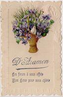 Cpa Gard - D' Aramon Ces Fleurs à Vous Offrir ... ( Fantaisie, Ajoutis Fleurs, Oiseau, Gaufrée ) - Aramon