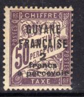 Guyane  Taxe N° 11 X Timbres-taxe De France Surchargés : 2 F. Sur 50 C. Brun-lilas  Trace De  Charnière Sinon TB - Guyane Française (1886-1949)