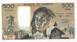 France- 500 Frs PASCAL - Du  1 02 1990 ( W.306)  Cat Fayette N° 71   Excellent état - 1962-1997 ''Francs''