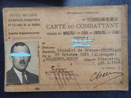 Carte Du Combattant - Des Mutilés Et Victimes Guerre - Consulat De France Stuttgart - Né En Allemagne En 1891 - 2 Scans. - Historische Dokumente