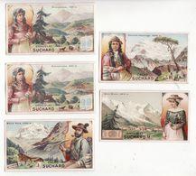 Chromo  CHOCOLAT SUCHARD    Lot De 5     Série 120   Paysages Des Alpes     10.5 X 6 Cm - Suchard