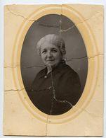 Photo Déchirée Recollée Ancienne Portrait Accident Damaged Femme Woman Id Dos - Anonymous Persons